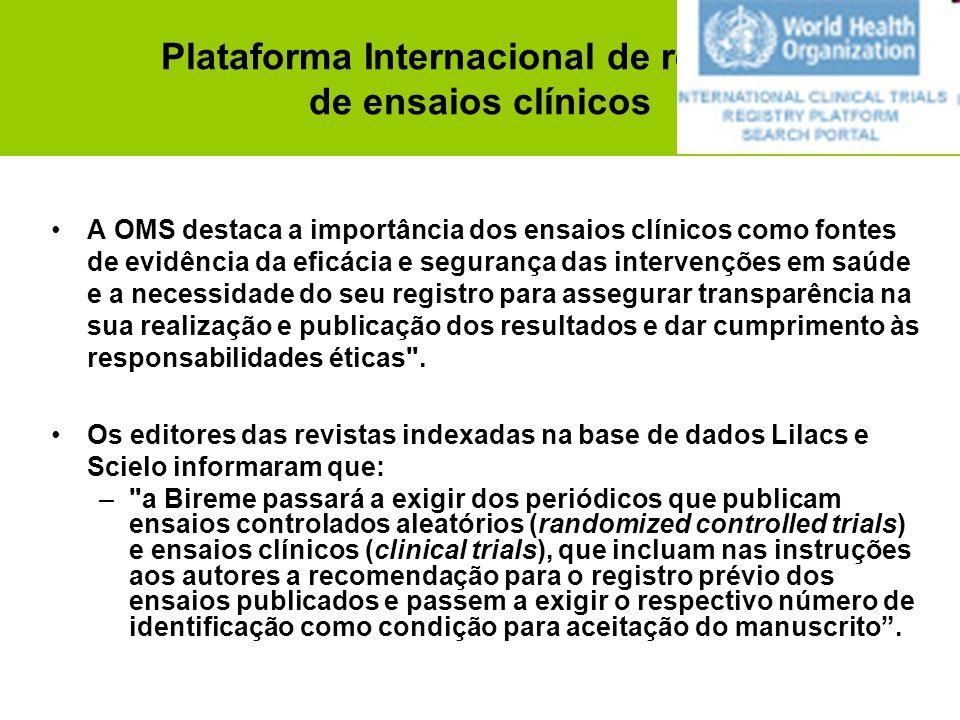 Plataforma Internacional de registro de ensaios clínicos