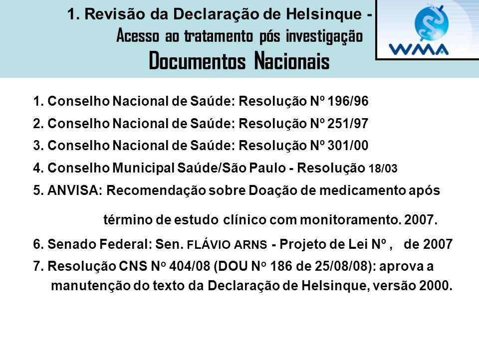 1. Revisão da Declaração de Helsinque - 2008 Acesso ao tratamento pós investigação Documentos Nacionais