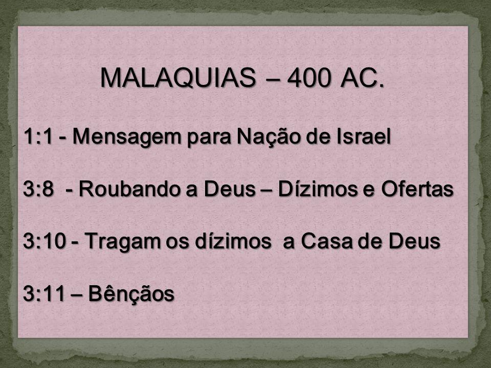 MALAQUIAS – 400 AC. 1:1 - Mensagem para Nação de Israel