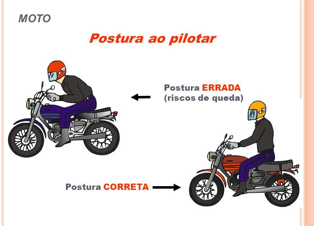 Postura ao pilotar MOTO Postura ERRADA (riscos de queda)