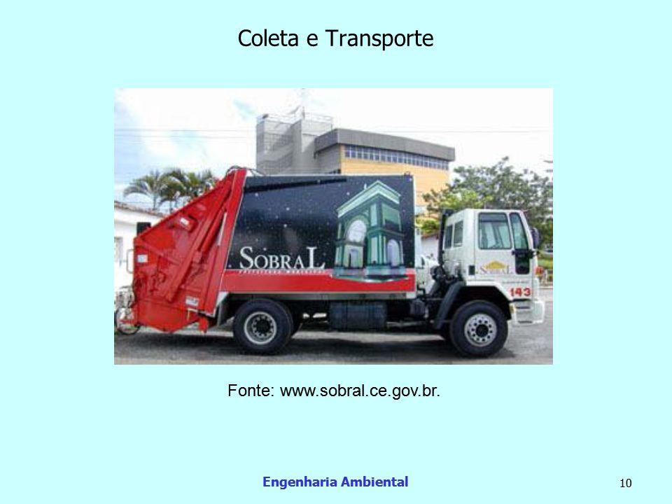 Coleta e Transporte Fonte: www.sobral.ce.gov.br. Engenharia Ambiental