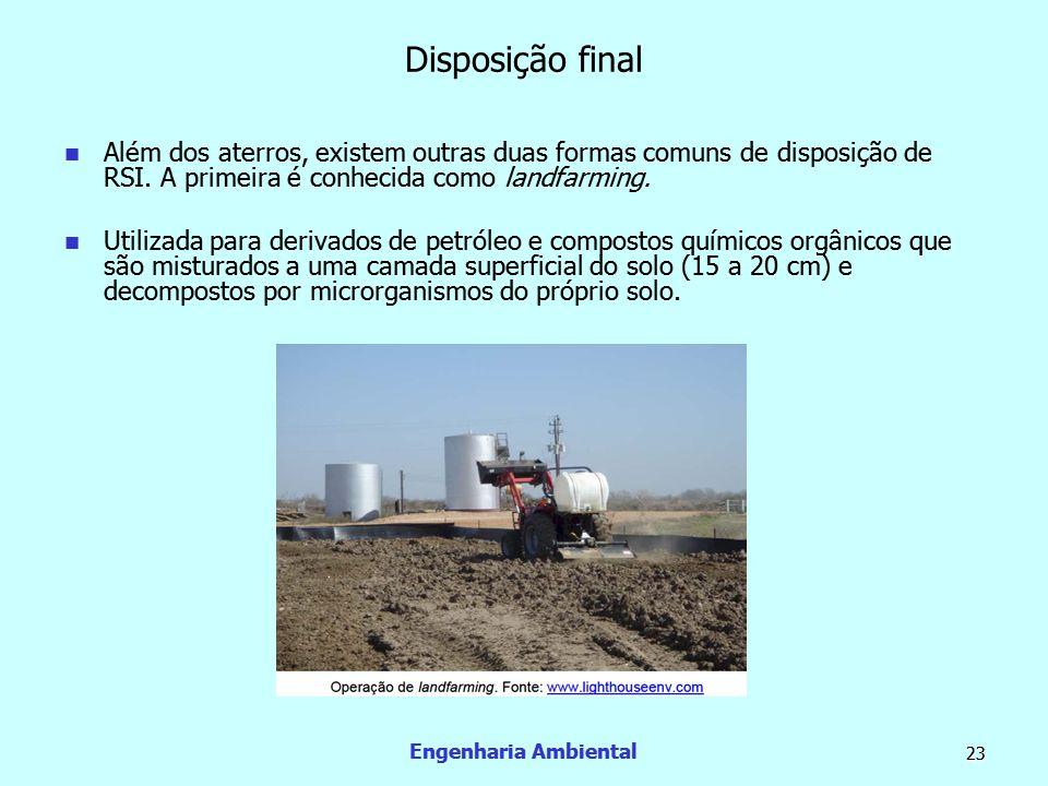 Disposição final Além dos aterros, existem outras duas formas comuns de disposição de RSI. A primeira é conhecida como landfarming.