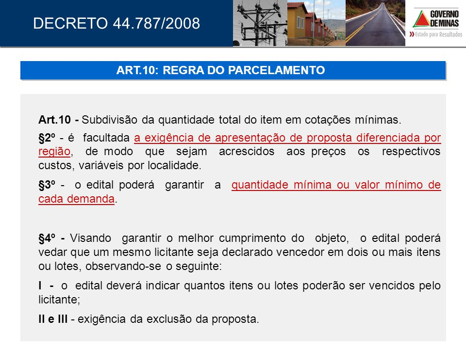 ART.10: REGRA DO PARCELAMENTO