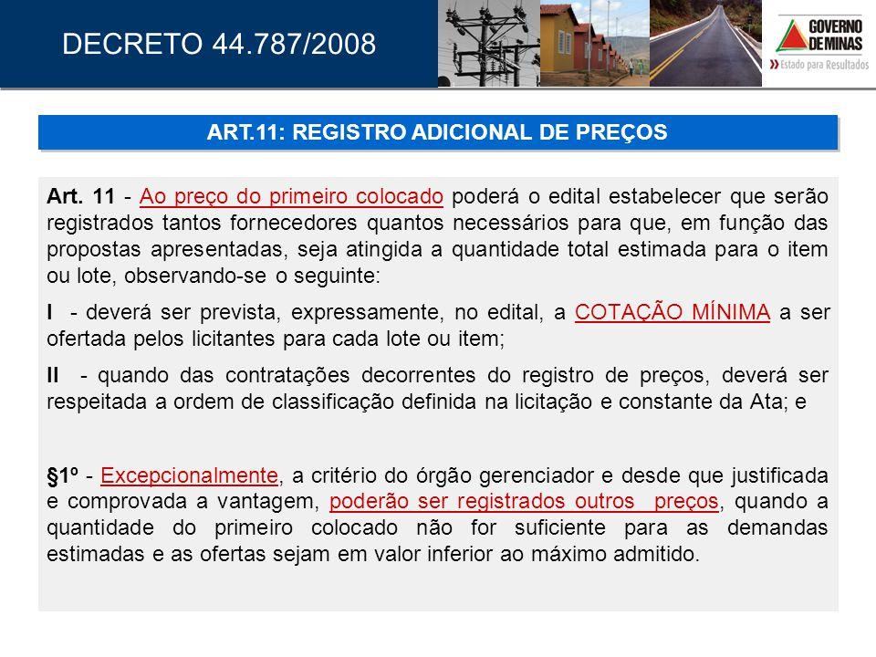 ART.11: REGISTRO ADICIONAL DE PREÇOS