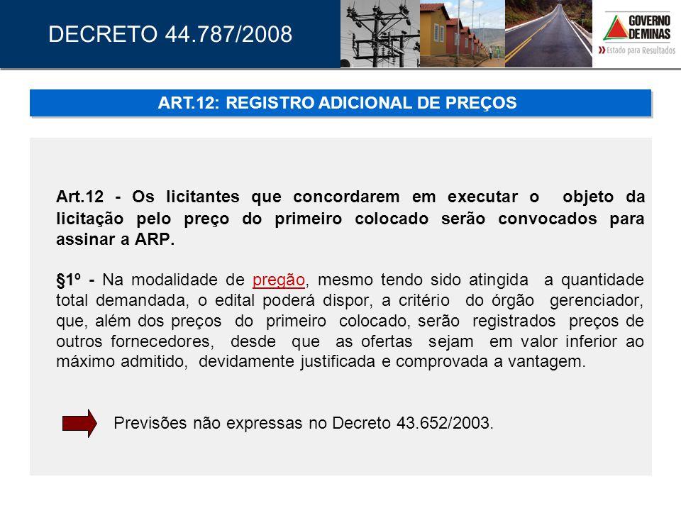 ART.12: REGISTRO ADICIONAL DE PREÇOS
