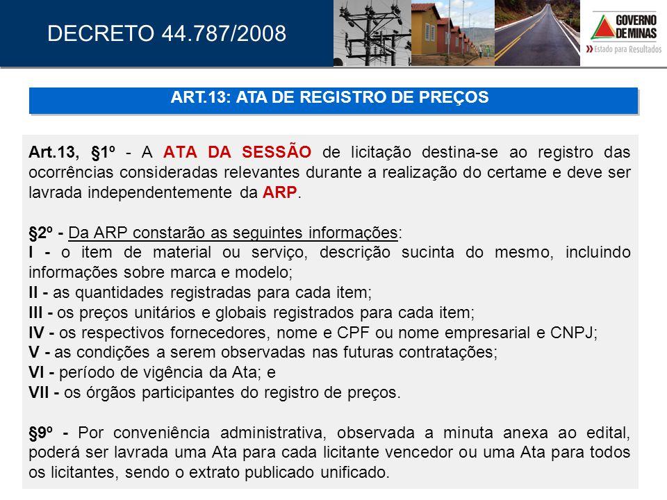 ART.13: ATA DE REGISTRO DE PREÇOS