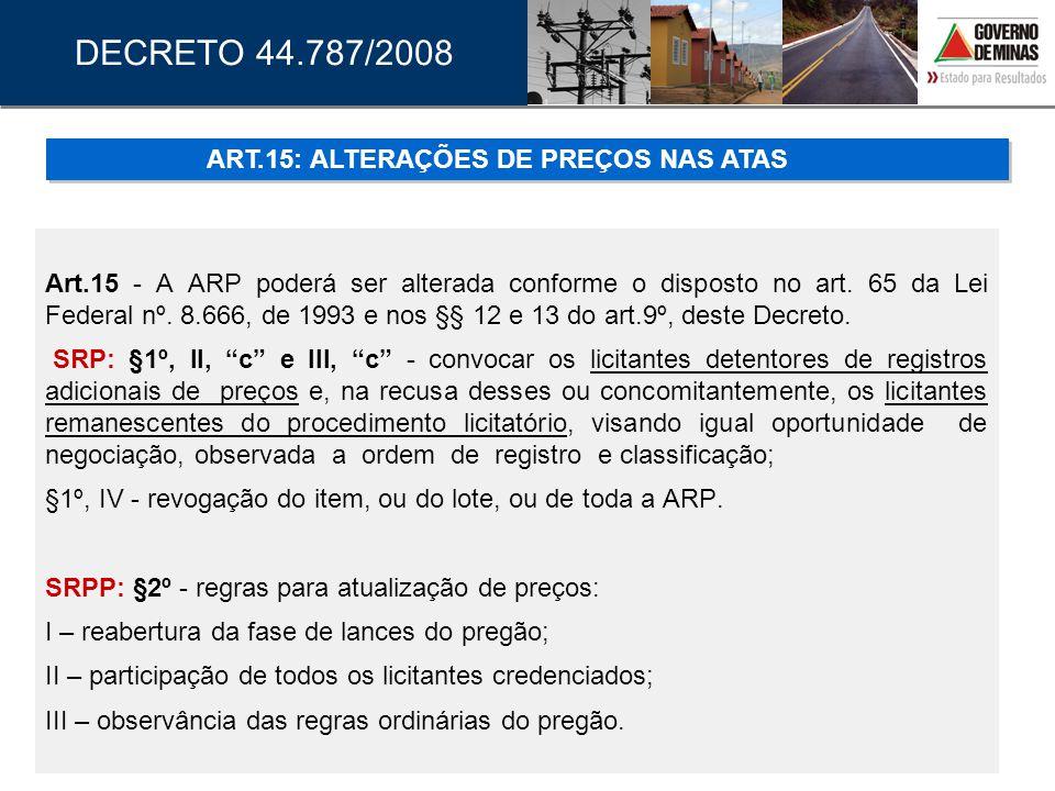 ART.15: ALTERAÇÕES DE PREÇOS NAS ATAS