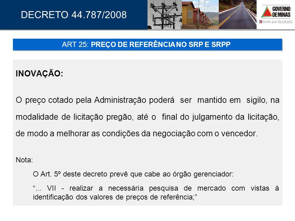 ART 25: PREÇO DE REFERÊNCIA NO SRP E SRPP