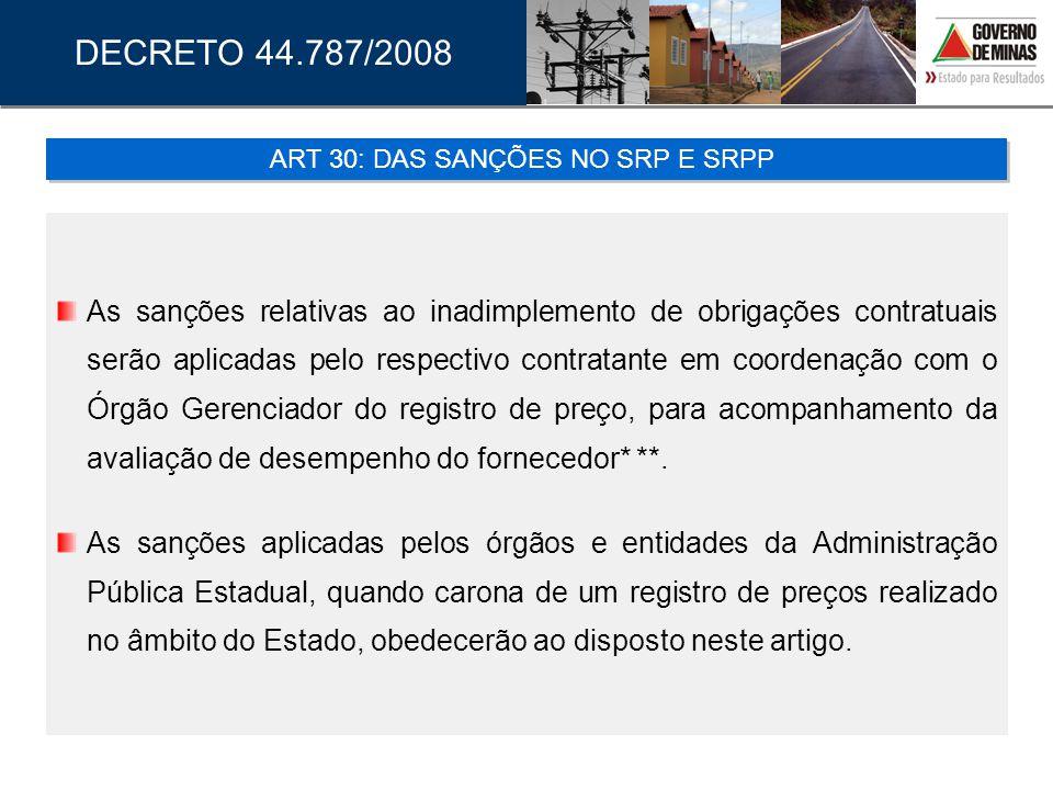 ART 30: DAS SANÇÕES NO SRP E SRPP