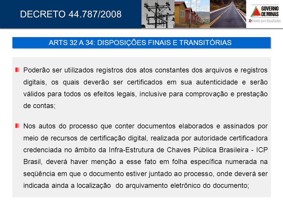 ARTS 32 A 34: DISPOSIÇÕES FINAIS E TRANSITÓRIAS