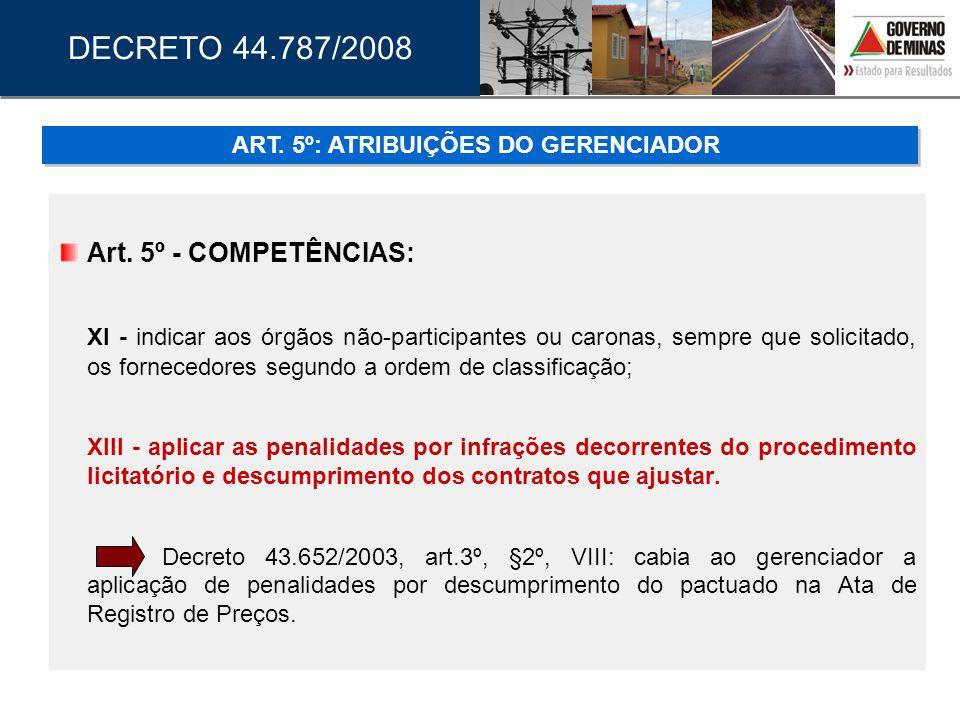 ART. 5º: ATRIBUIÇÕES DO GERENCIADOR