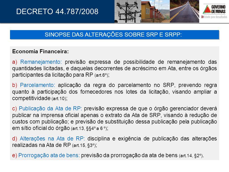 SINOPSE DAS ALTERAÇÕES SOBRE SRP E SRPP: