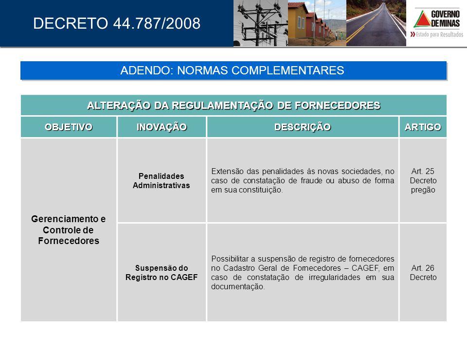 DECRETO 44.787/2008 ADENDO: NORMAS COMPLEMENTARES