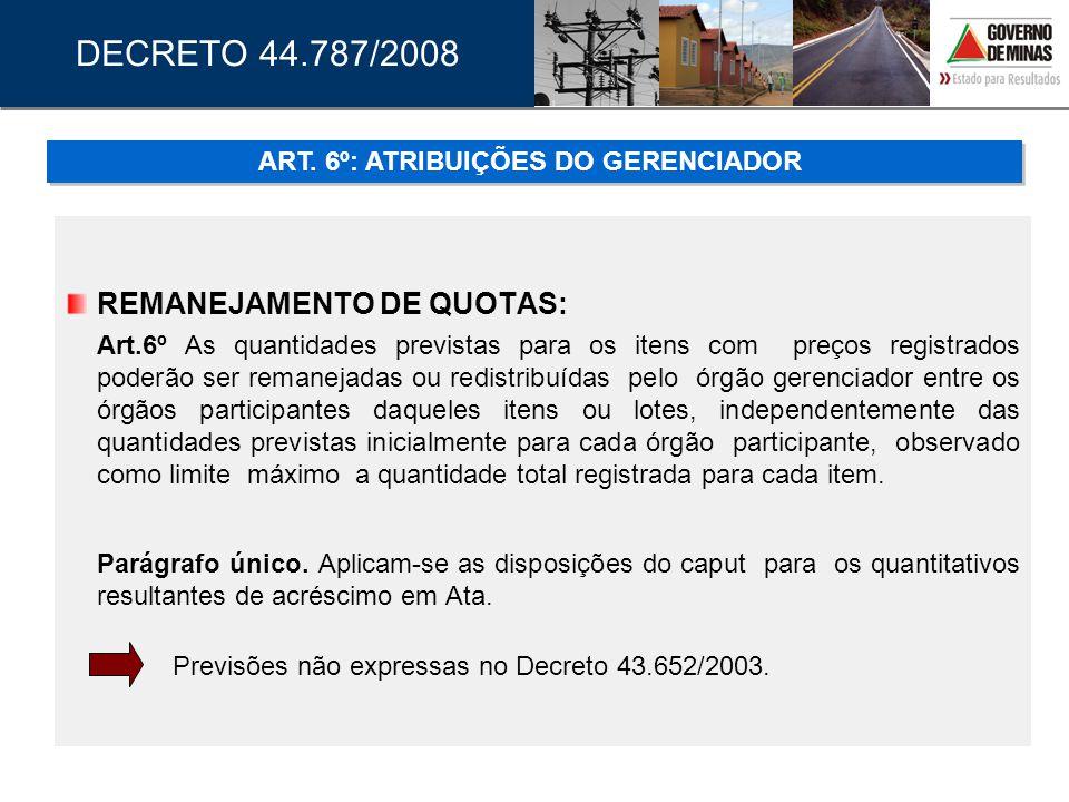 ART. 6º: ATRIBUIÇÕES DO GERENCIADOR