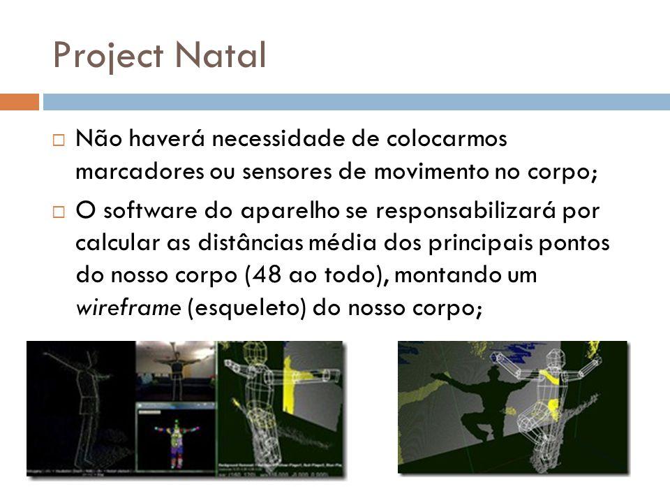 Project Natal Não haverá necessidade de colocarmos marcadores ou sensores de movimento no corpo;