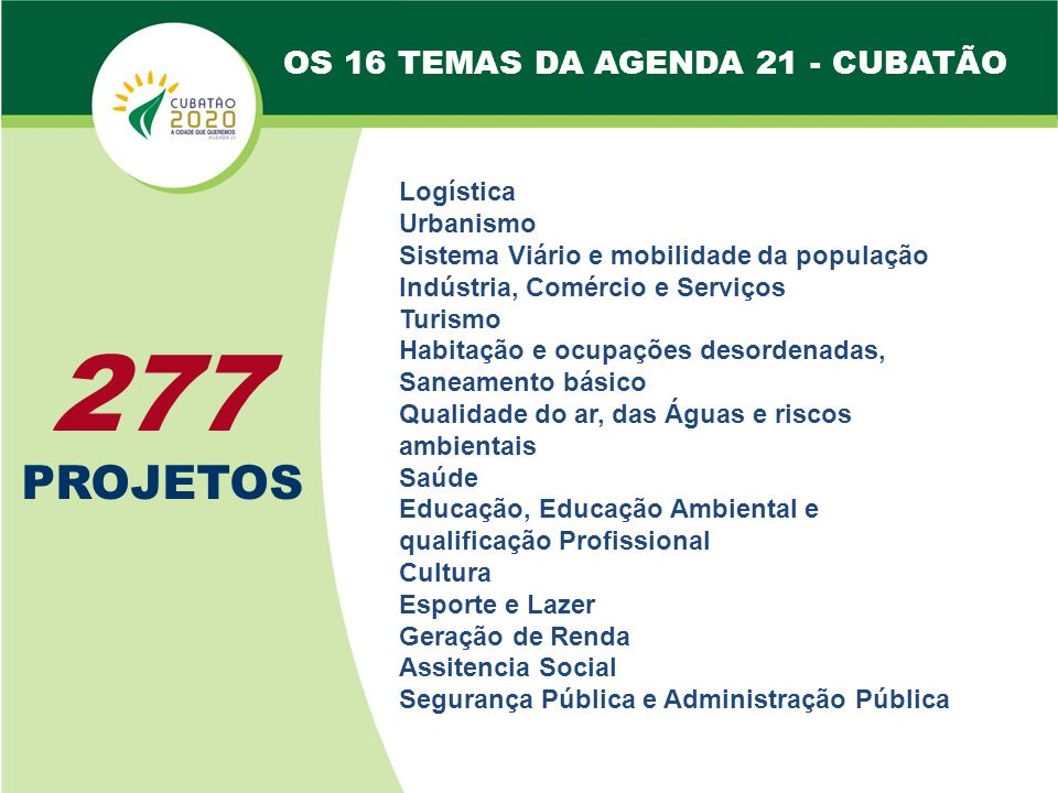 277 PROJETOS OS 16 TEMAS DA AGENDA 21 - CUBATÃO Urbanismo