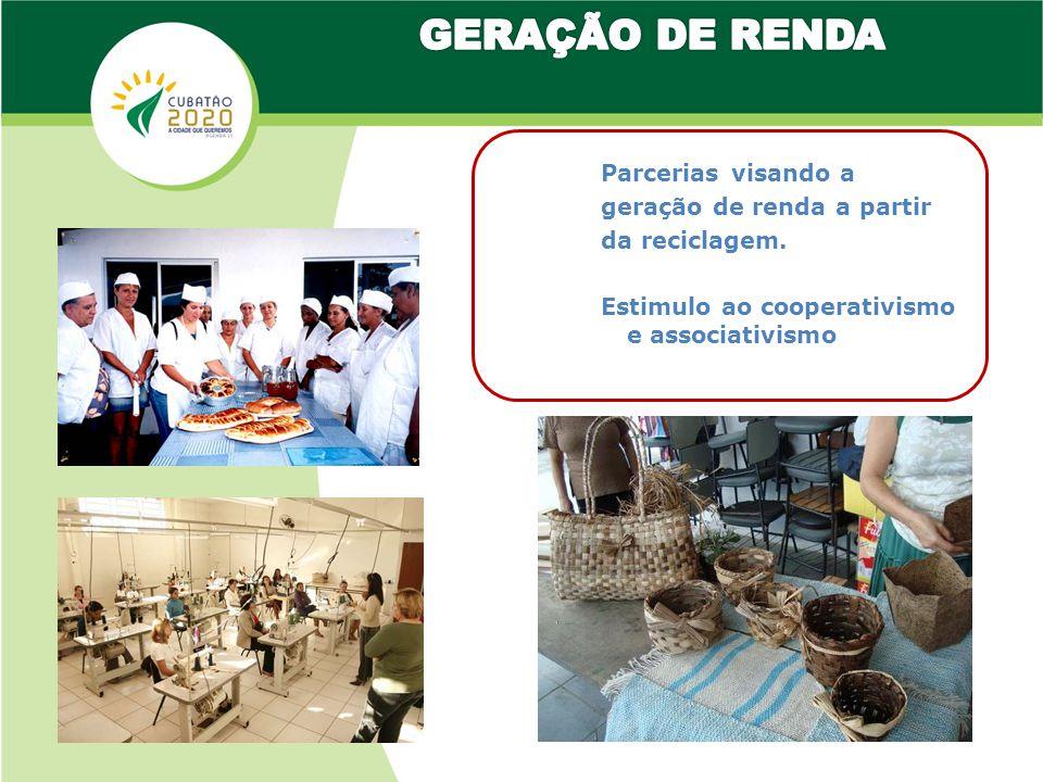 GERAÇÃO DE RENDA Parcerias visando a geração de renda a partir