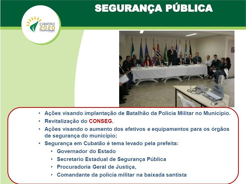 SEGURANÇA PÚBLICA Ações visando implantação de Batalhão da Policia Militar no Município. Revitalização do CONSEG.