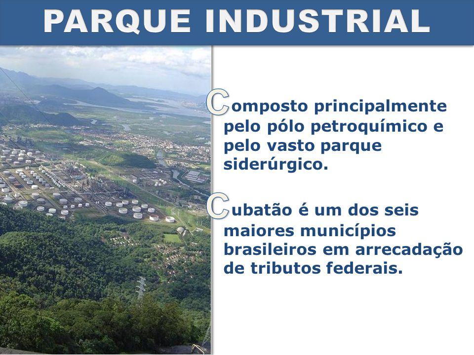 PARQUE INDUSTRIAL omposto principalmente pelo pólo petroquímico e pelo vasto parque siderúrgico.