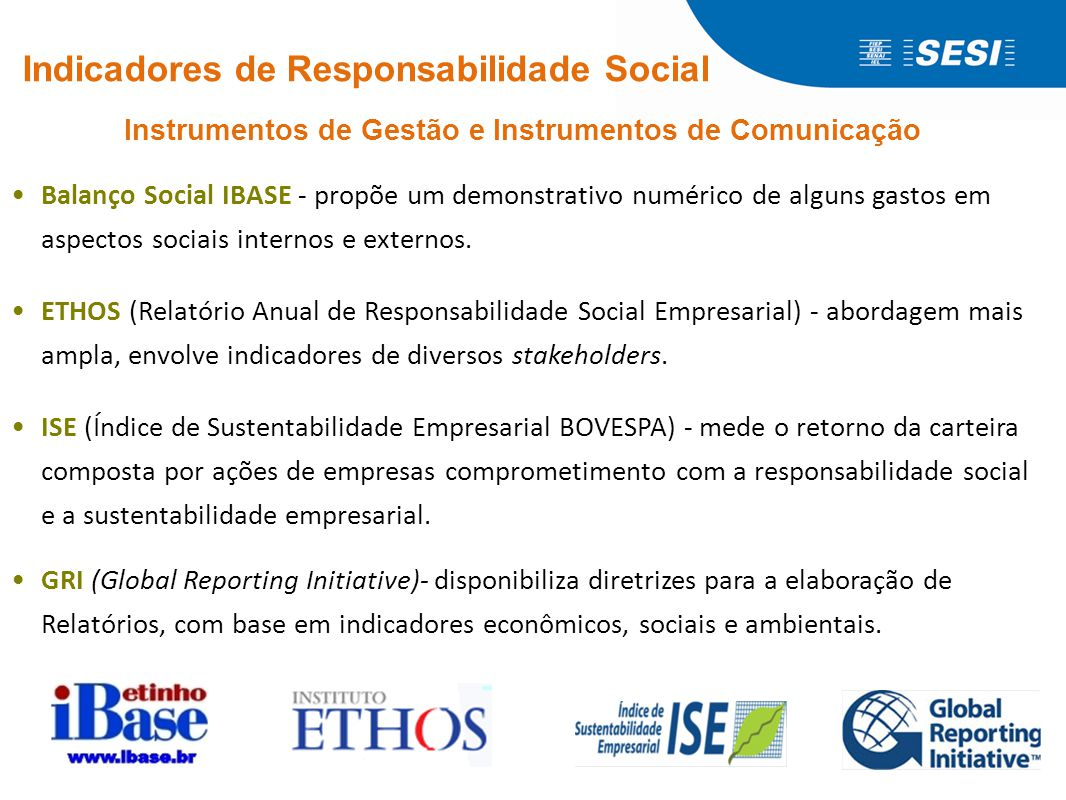 Indicadores de Responsabilidade Social e Sustentabilidade Ethos e GRI