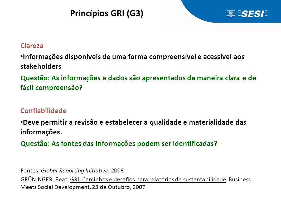 Princípios GRI (G3) Exatidão. Informações suficientemente precisas e detalhadas para que os stakeholders avaliem o desempenho da organização.