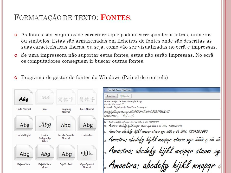 Formatação de texto: Fontes.
