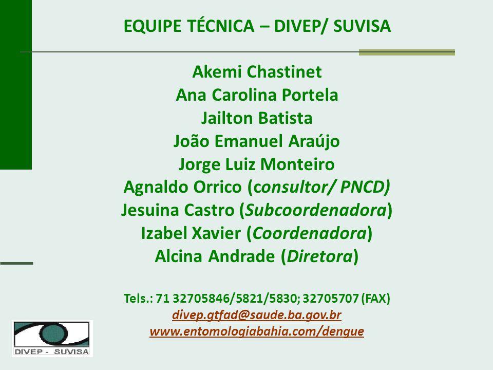 EQUIPE TÉCNICA – DIVEP/ SUVISA Akemi Chastinet Ana Carolina Portela
