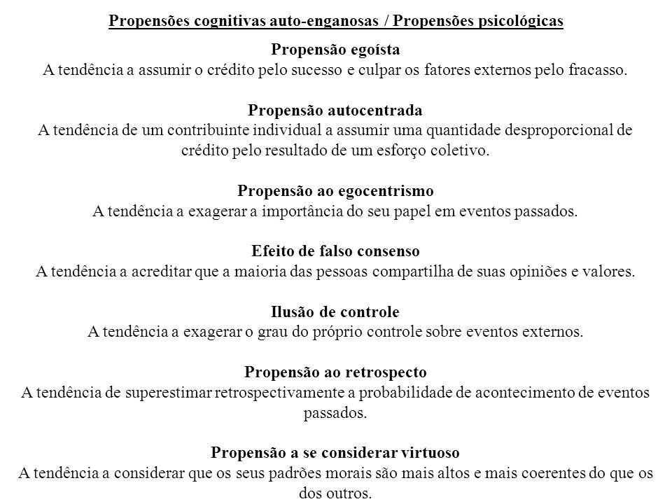 Propensões cognitivas auto-enganosas / Propensões psicológicas