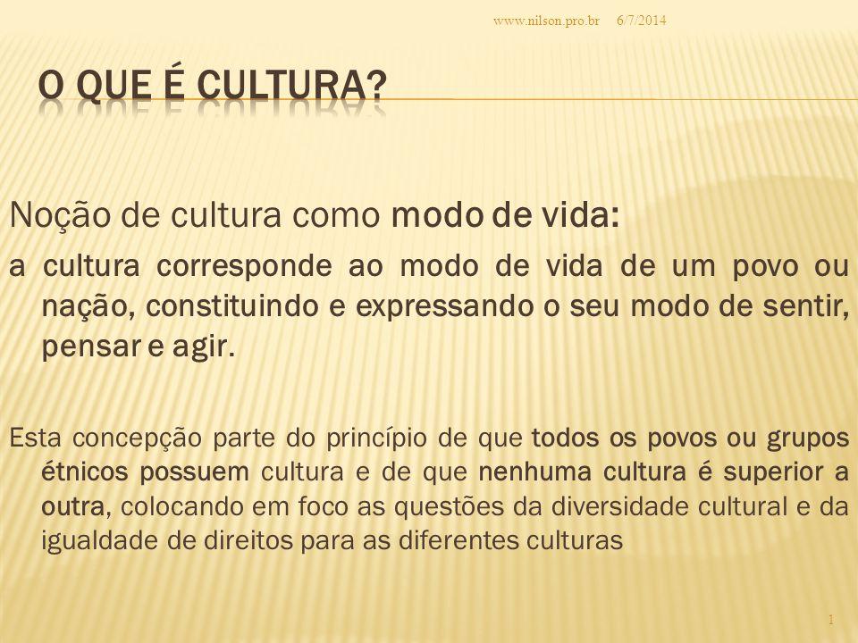 O QUE É CULTURA Noção de cultura como modo de vida: