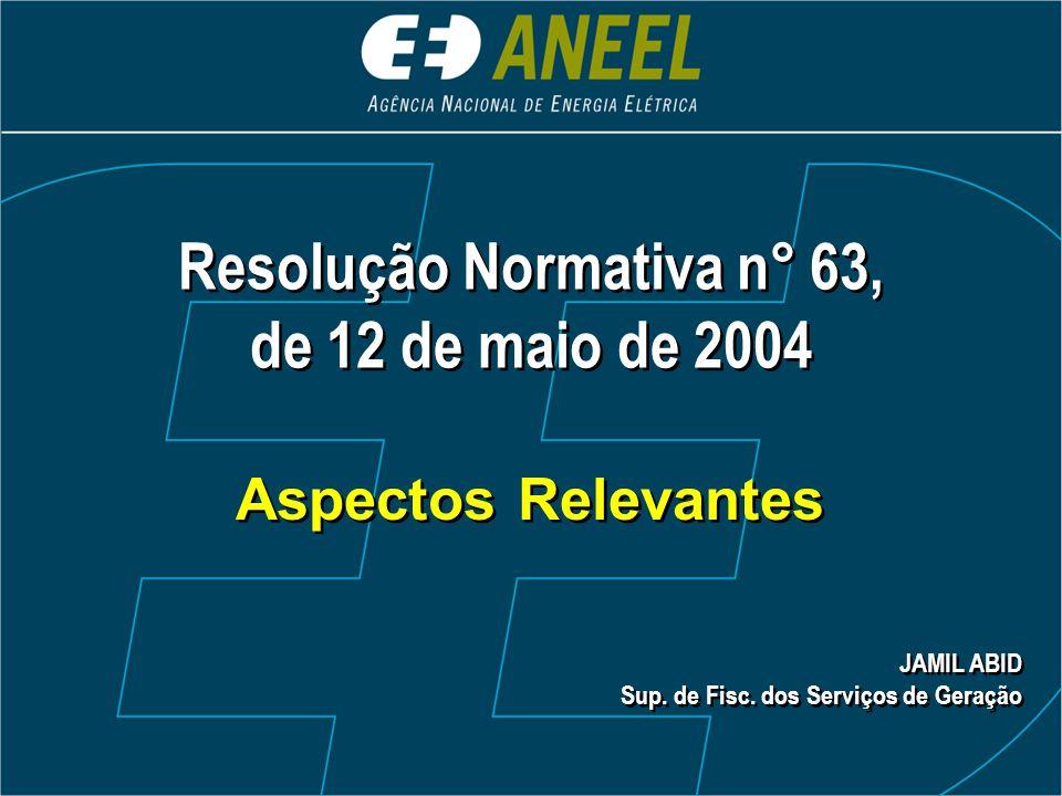 Resolução Normativa n° 63,