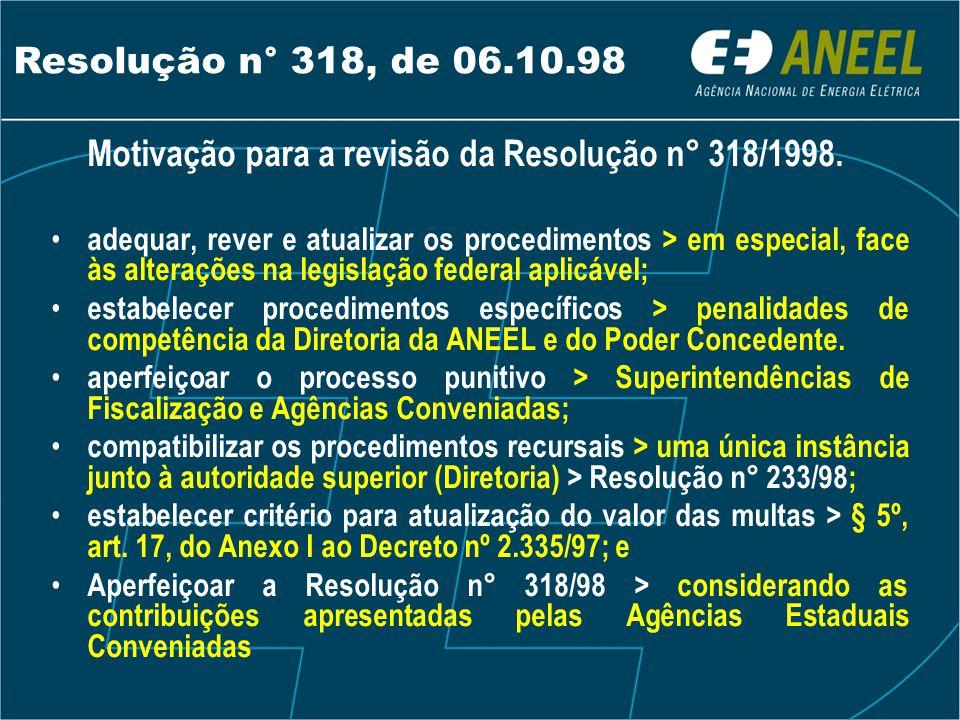 Resolução n° 318, de 06.10.98 Motivação para a revisão da Resolução n° 318/1998.