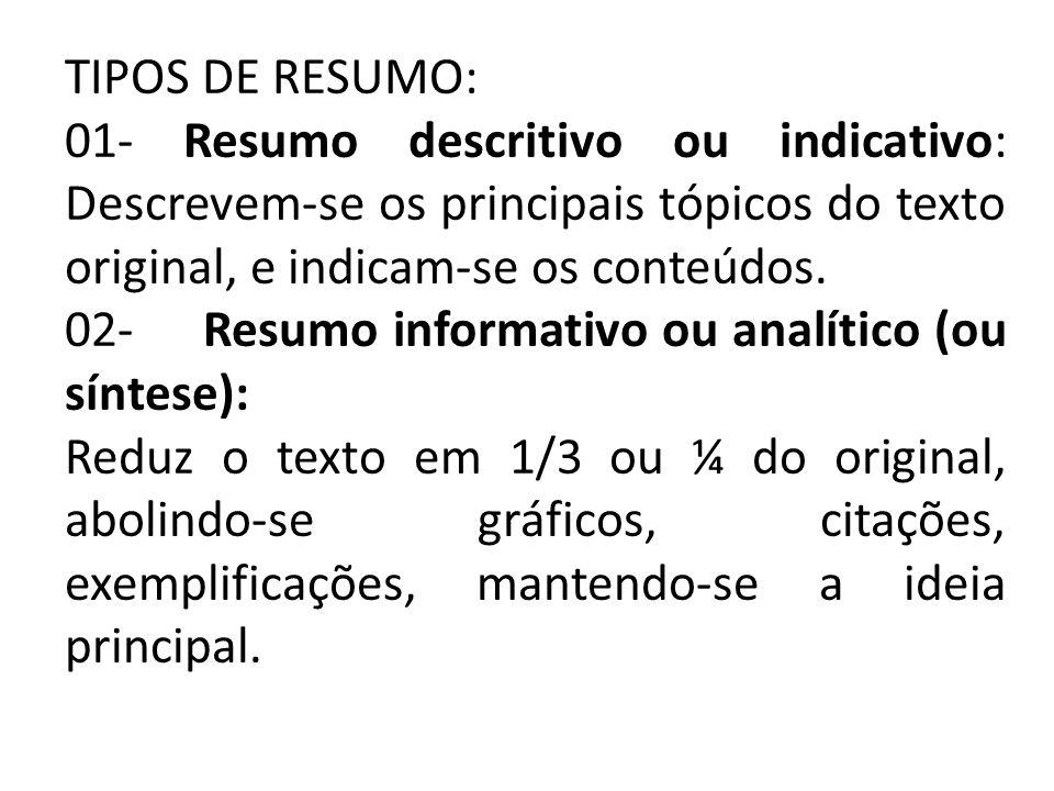 TIPOS DE RESUMO: 01- Resumo descritivo ou indicativo: Descrevem-se os principais tópicos do texto original, e indicam-se os conteúdos.