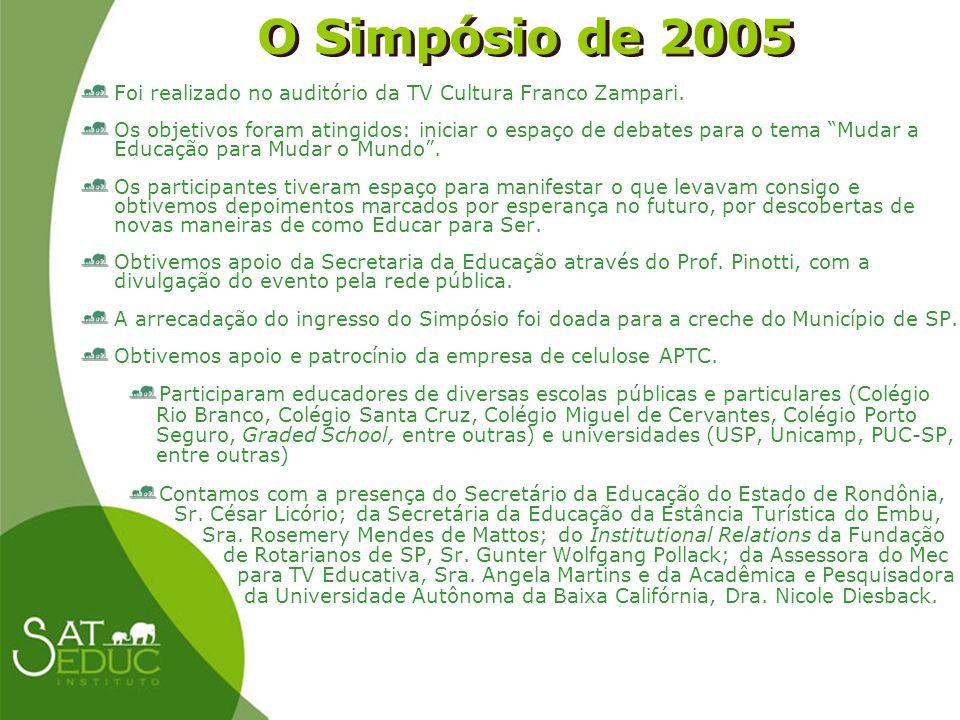 O Simpósio de 2005 Foi realizado no auditório da TV Cultura Franco Zampari.