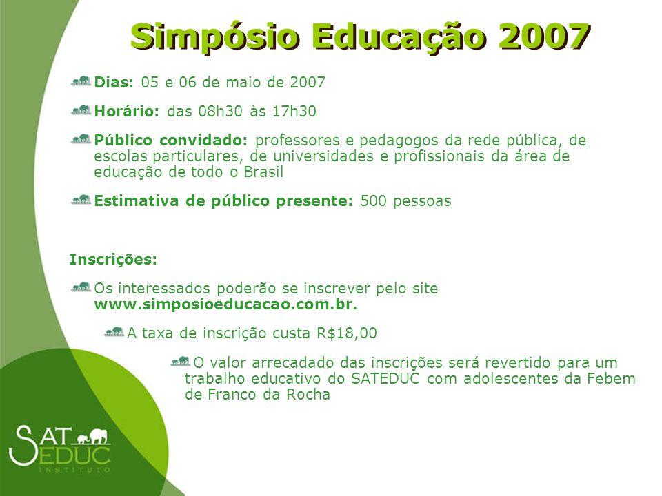 Simpósio Educação 2007 Dias: 05 e 06 de maio de 2007