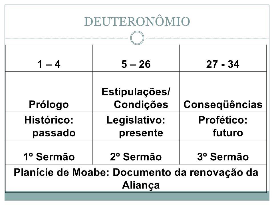 DEUTERONÔMIO 1 – 4 5 – 26 27 - 34 Prólogo Estipulações/ Condições