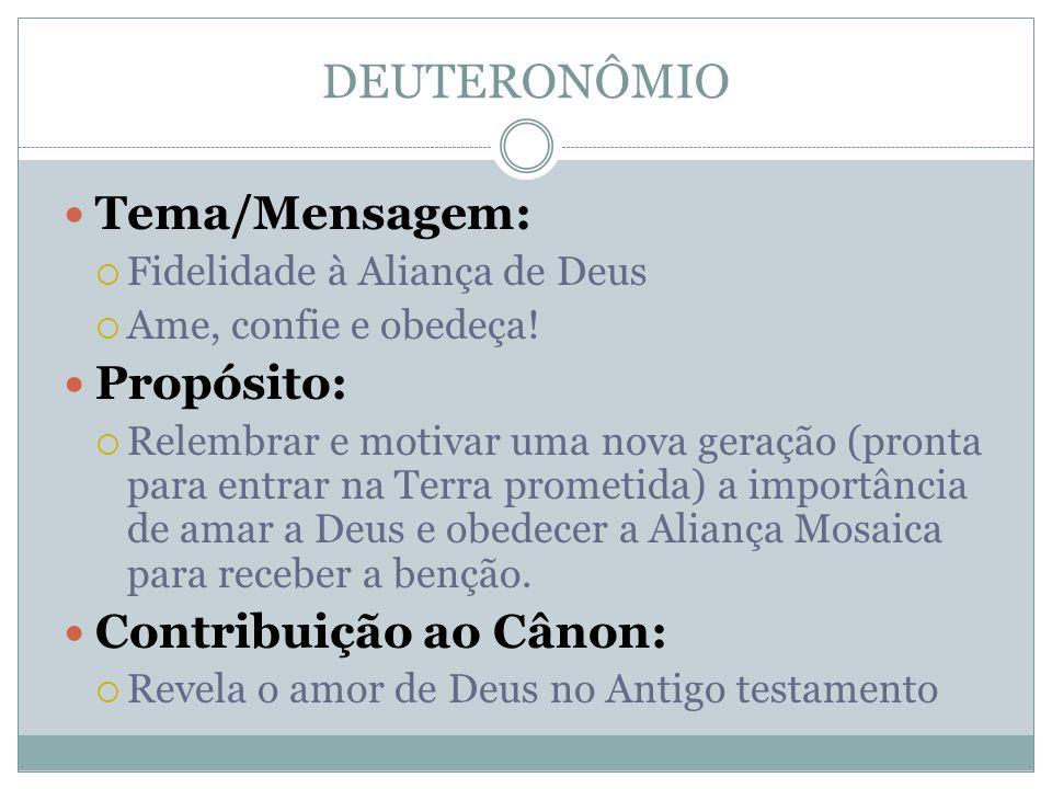 DEUTERONÔMIO Tema/Mensagem: Propósito: Contribuição ao Cânon: