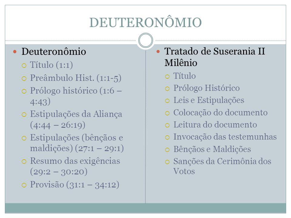 DEUTERONÔMIO Deuteronômio Tratado de Suserania II Milênio Título (1:1)