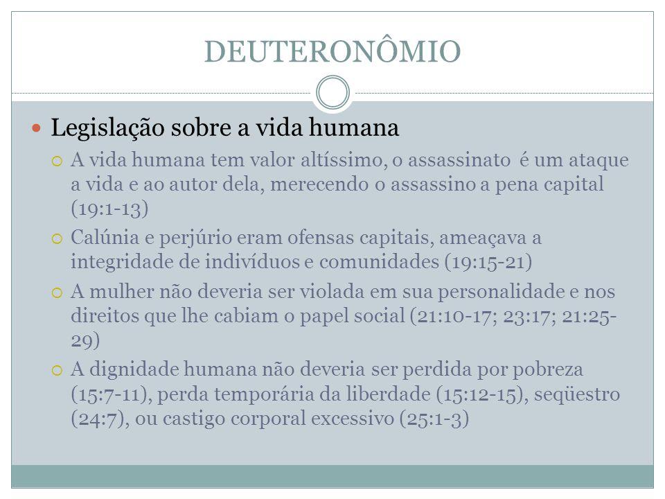DEUTERONÔMIO Legislação sobre a vida humana