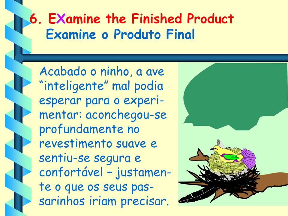 6. EXamine the Finished Product Examine o Produto Final