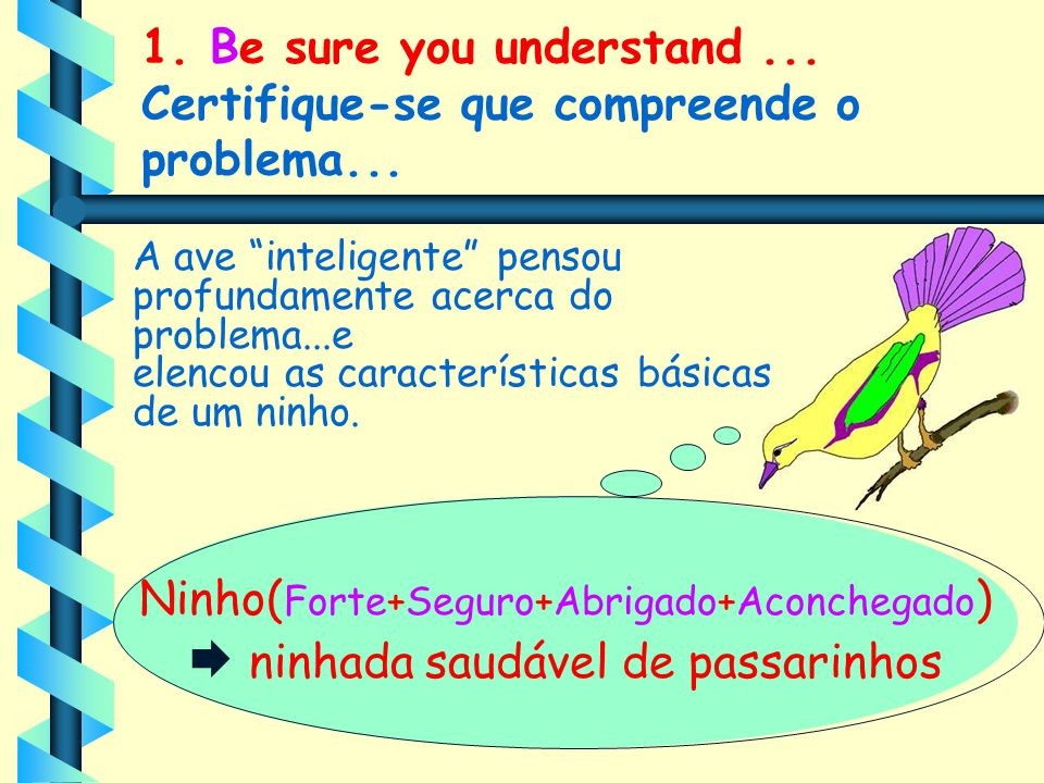 1. Be sure you understand ... Certifique-se que compreende o problema...