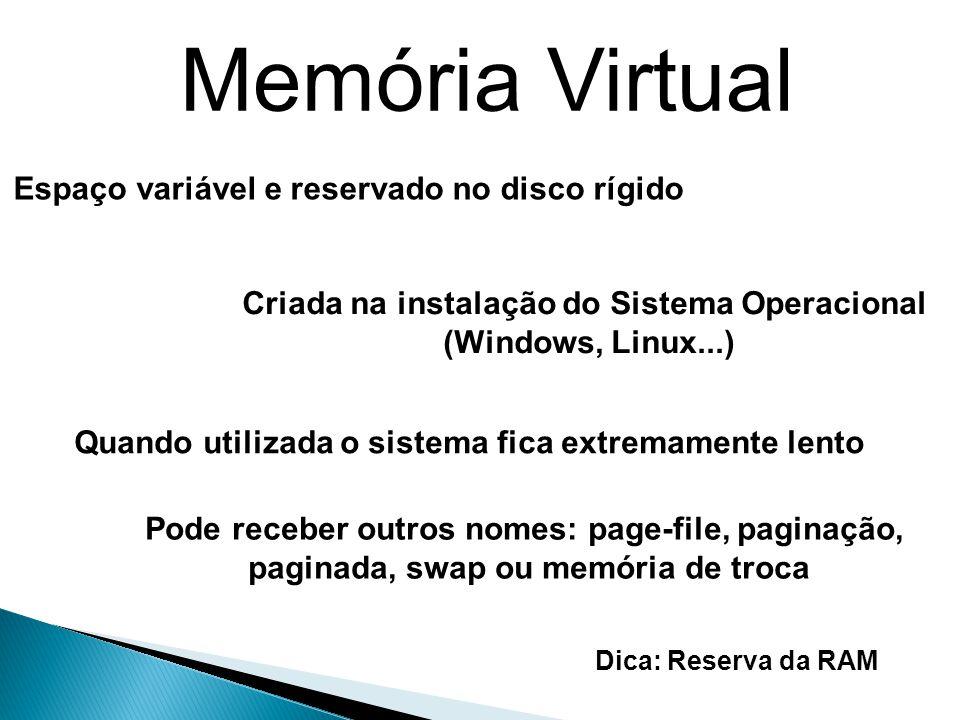 Memória Virtual Espaço variável e reservado no disco rígido