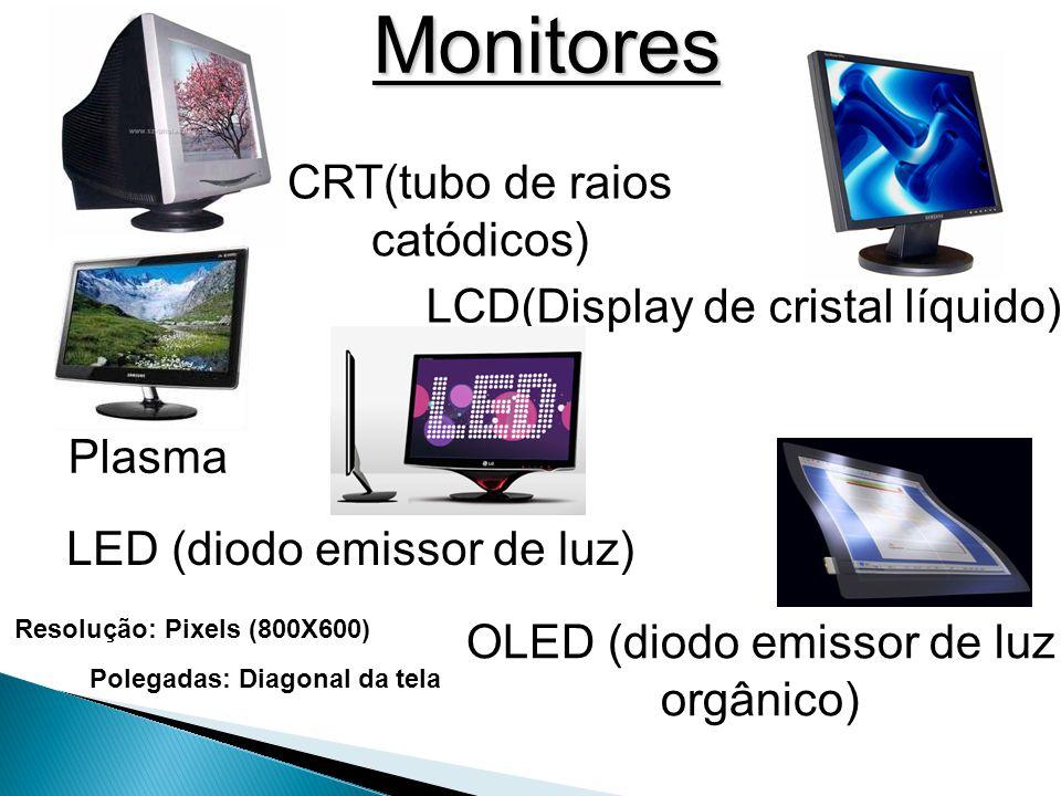 Monitores CRT(tubo de raios catódicos) LCD(Display de cristal líquido)