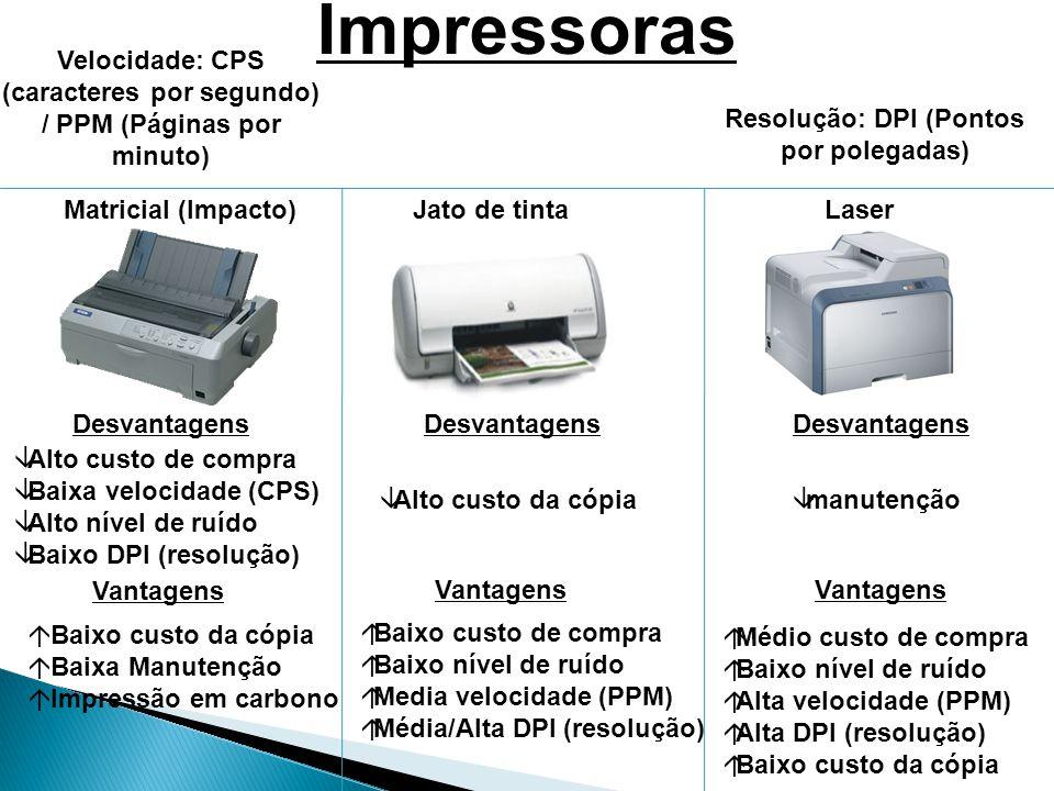 Impressoras Velocidade: CPS (caracteres por segundo) / PPM (Páginas por minuto) Resolução: DPI (Pontos por polegadas)