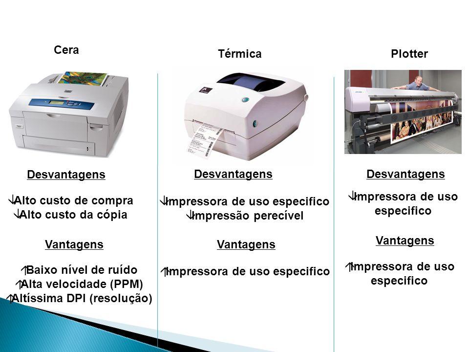 Impressora de uso especifico Alto custo de compra Alto custo da cópia