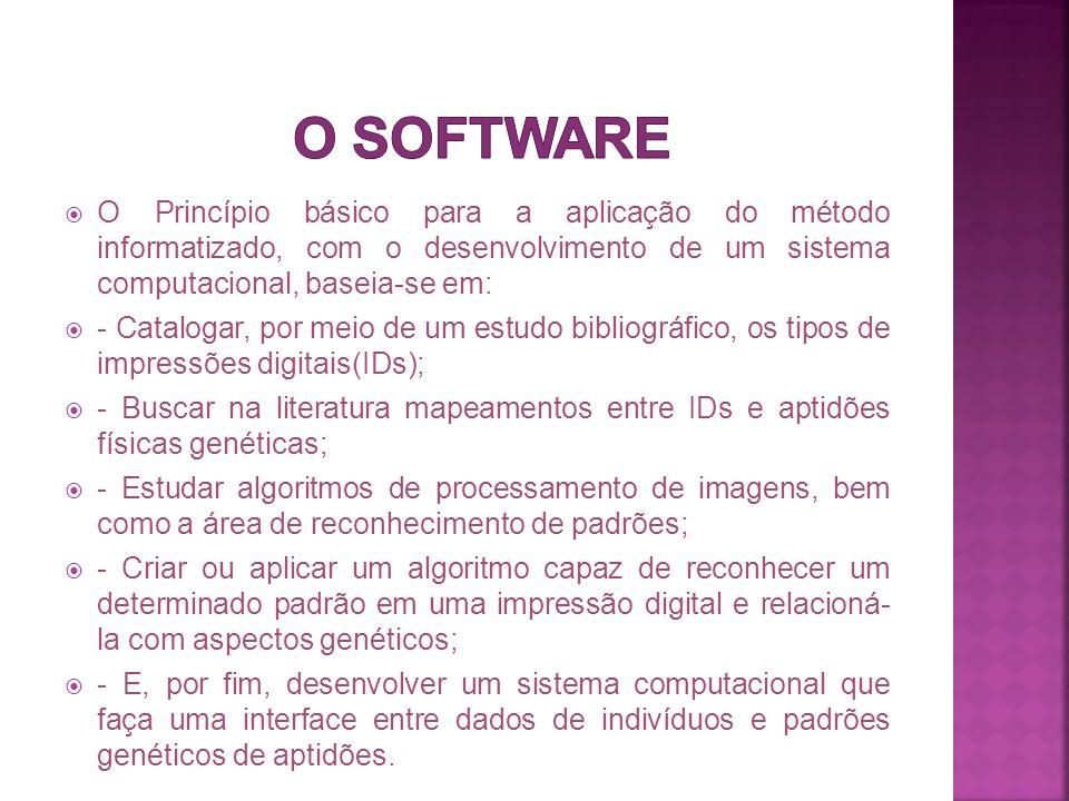 O software O Princípio básico para a aplicação do método informatizado, com o desenvolvimento de um sistema computacional, baseia-se em: