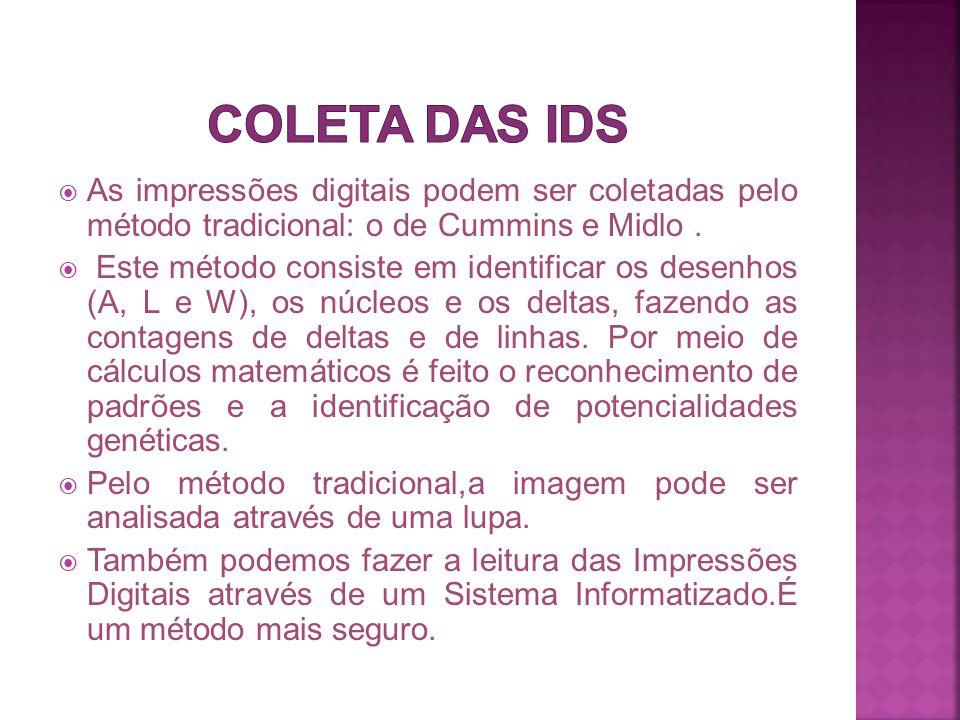 Coleta das IDs As impressões digitais podem ser coletadas pelo método tradicional: o de Cummins e Midlo .