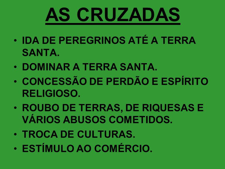 AS CRUZADAS IDA DE PEREGRINOS ATÉ A TERRA SANTA.