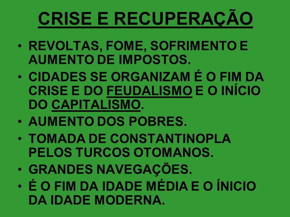 CRISE E RECUPERAÇÃO REVOLTAS, FOME, SOFRIMENTO E AUMENTO DE IMPOSTOS.