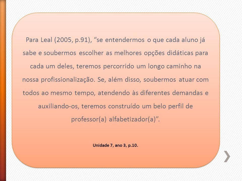 Para Leal (2005, p.91), se entendermos o que cada aluno já sabe e soubermos escolher as melhores opções didáticas para cada um deles, teremos percorrido um longo caminho na nossa profissionalização. Se, além disso, soubermos atuar com todos ao mesmo tempo, atendendo às diferentes demandas e auxiliando-os, teremos construído um belo perfil de professor(a) alfabetizador(a) .