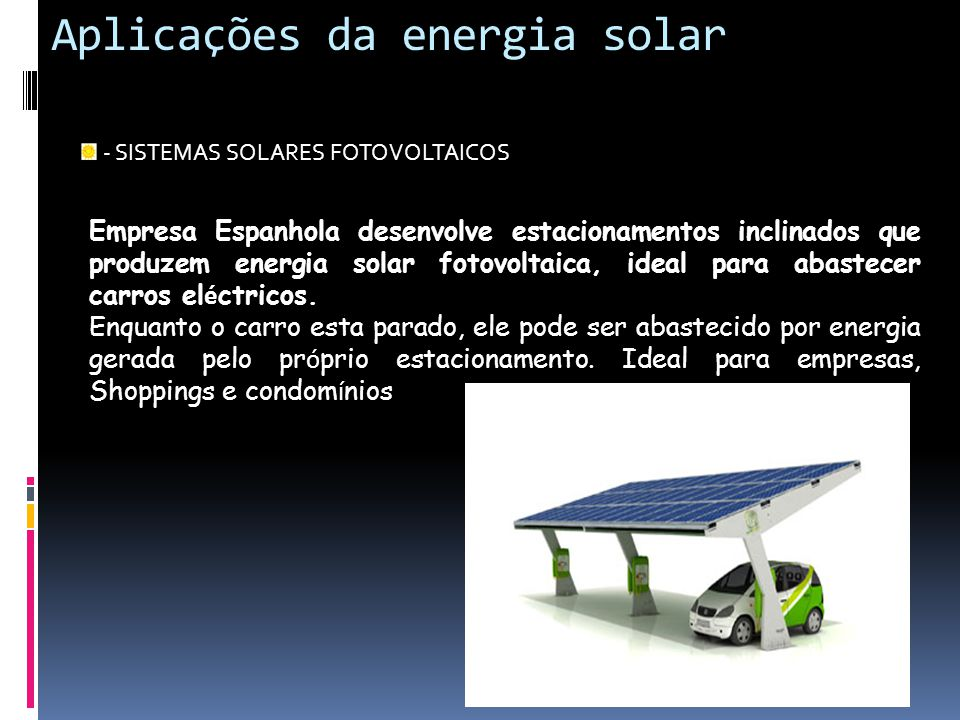 Aplicações da energia solar